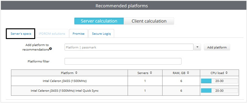 Calculation results for Axxon Next and Intellect Server - AxxonSoft