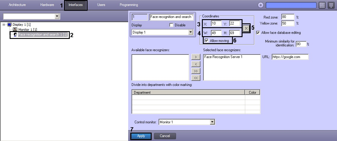Setting the parameters for the Face recognition and search interface