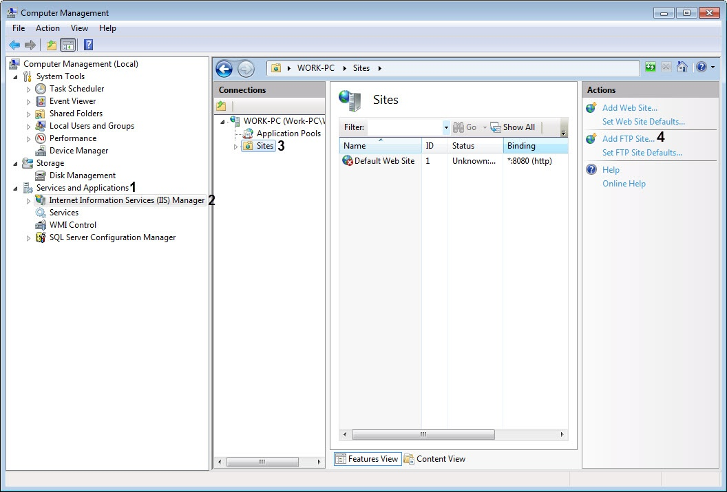 Configuring the FTP server for the Central server of control